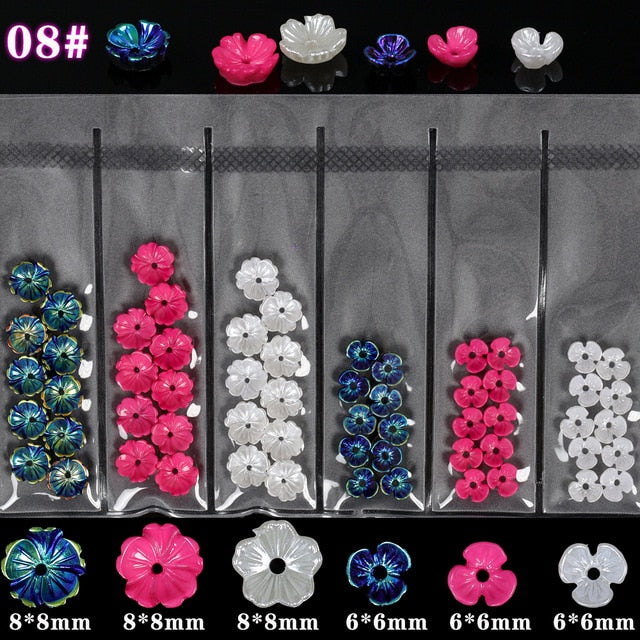6Grids/Pack 3D Rose Various Petals l Arylic Nail Art - Neshaí Fashion & More