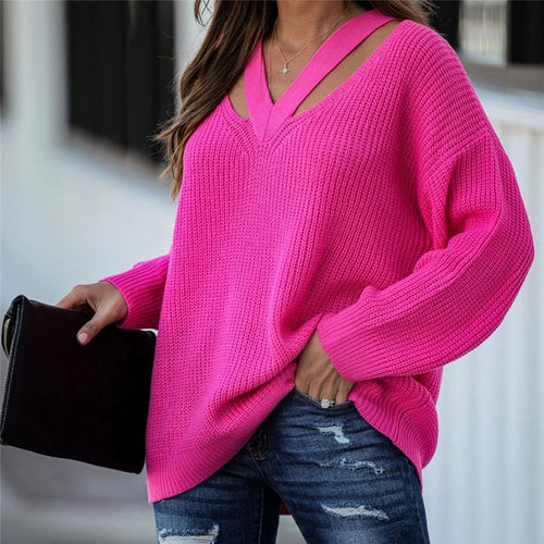 Fitshinling V Neck Casual Sweater Top - Neshaí Fashion & More
