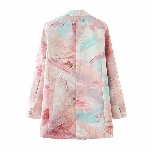 Pink Mixed Color Double Breasted Blazer 13T870 - Neshaí Fashion & More