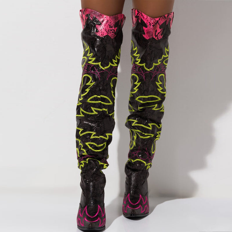 Over The Knee High Boots CowGirl