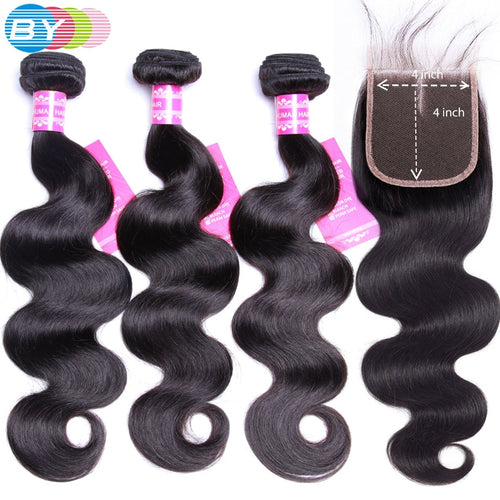 Body Wave Bundles With Closure Brazilian Hair Weave 4X4