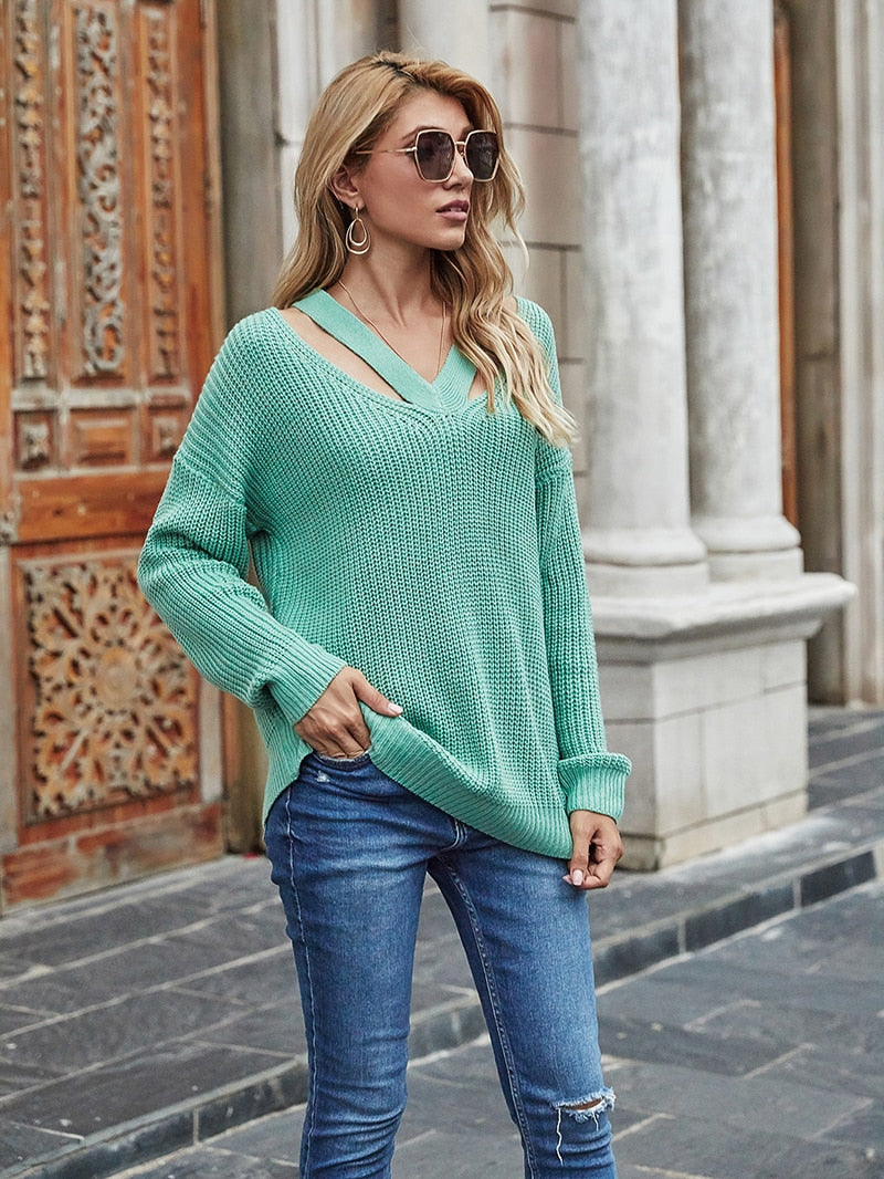 Fitshinling V Neck Casual Sweater Top