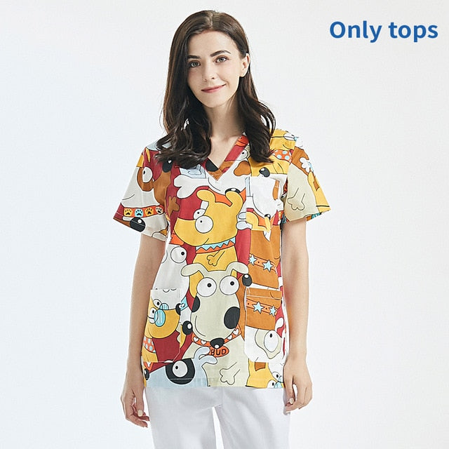 Cartoon printing work uniform