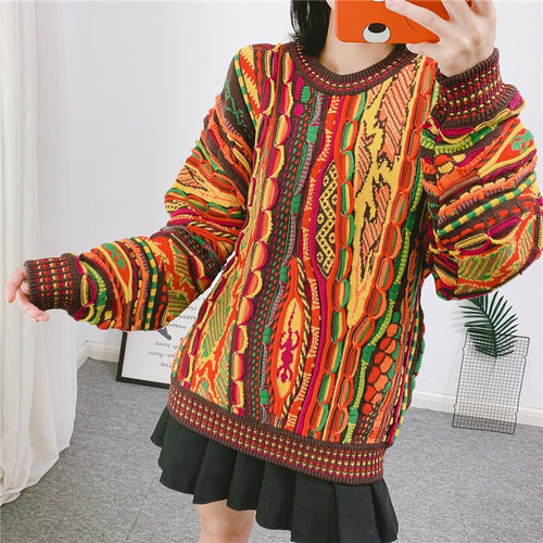 Colorful Folk Style Pullover Knitted Sweater TX090 - Neshaí Fashion & More