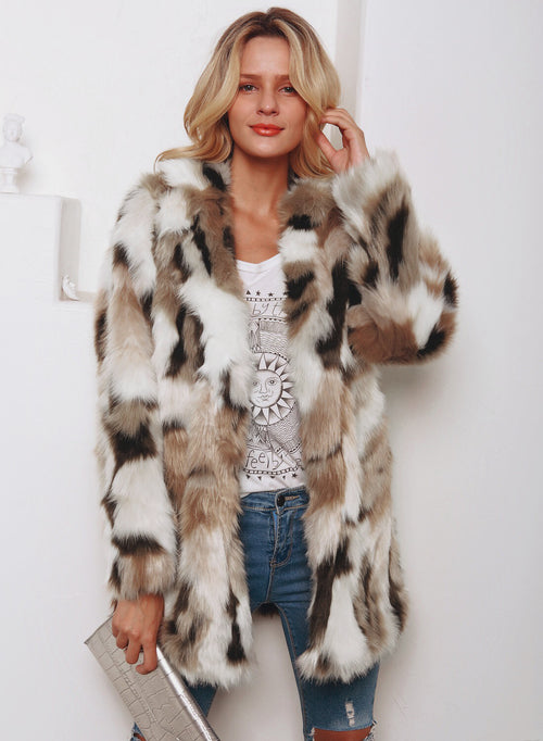 Faux Furry Leopard Print   Overcoat - Neshaí Fashion & More