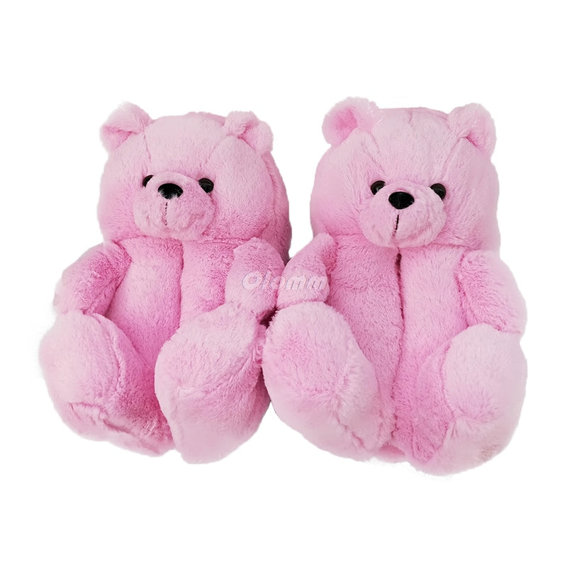 Plush Teddy Bear House Slippers - Neshaí Fashion & More