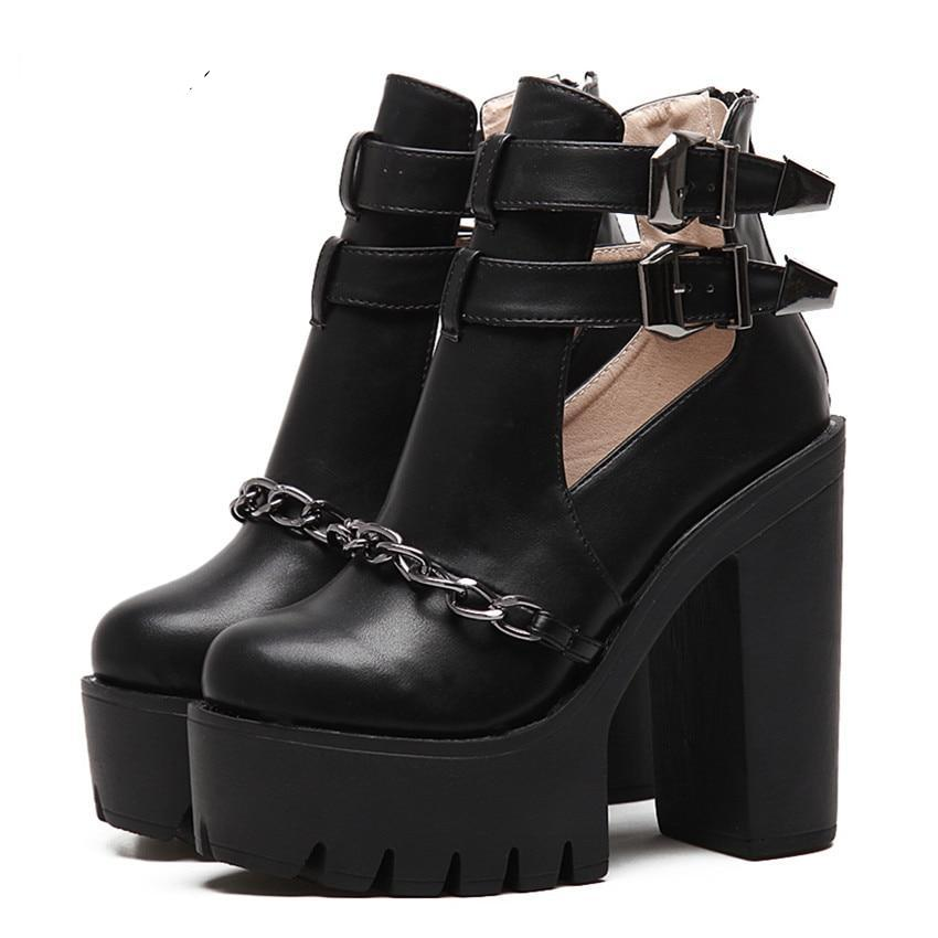 Casual Cut-outs Buckle Round Toe Chain Thick Heels Platform Shoes