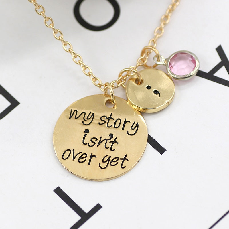 My Story Isn't Over Yet Semicolon Necklace Pink Blue Crystal Bead Charm