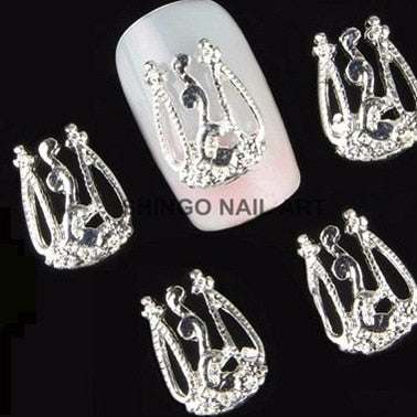 10pcs gold &silver 3D alloy Nail art Decoration