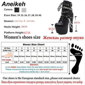 Metal Chains Rivet Motorcycle Boots Women Shoes Super High Heels Platform Ankle Boots Punk Rock Gothic Biker Boots