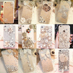 Hearts phone case Bling Diamond for iPhone 6 7 plus For Samsung Note 5 S6 S7 edge S8 Plus Phone Clear Crystal Cover Crown Flower decora