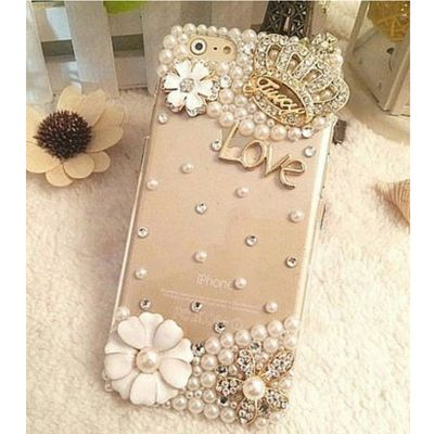 Love phone case Bling Diamond for iPhone 6 7 plus For Samsung Note 5 S6 S7 edge S8 Plus Phone Clear Crystal Cover Crown Flower decora