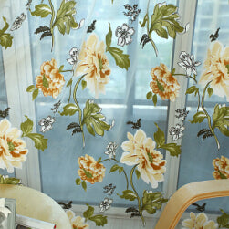 Top Finel  Panel Draperies light flowers