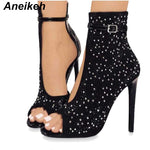 Gladiator High Heels Women Rhinestone Buckle Strap Party Shoes 41 42 43