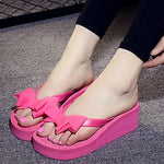 High Heels Women Flip Flops Bow Fashion Beach Shoes Woman