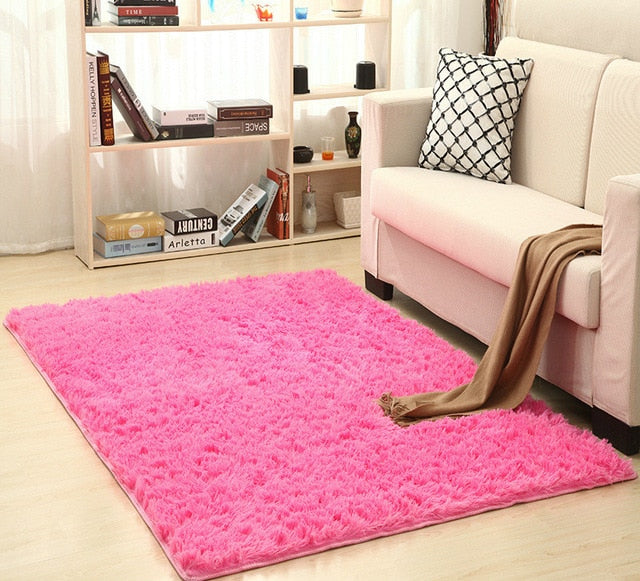 Super Soft Silk Wool Rug Indoor Modern Shag Area Rug pink vibrant