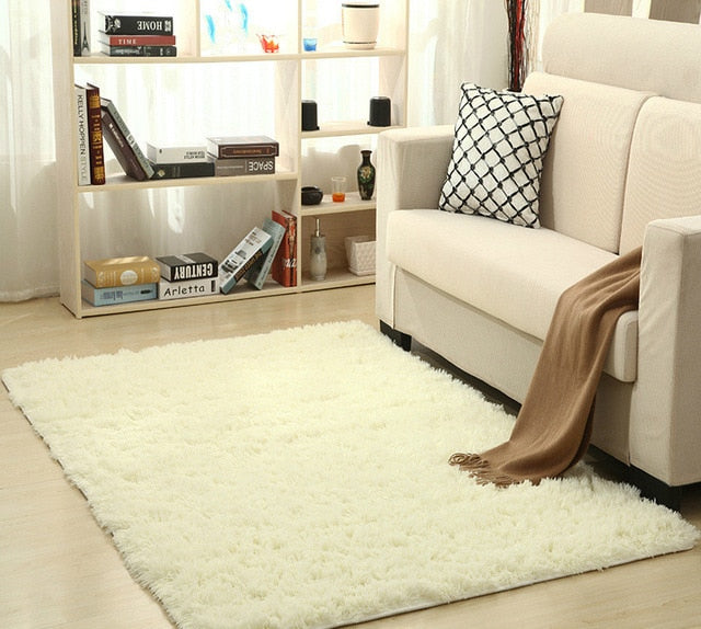 Super Soft Silk Wool Rug Indoor Modern Shag Area Rug natural