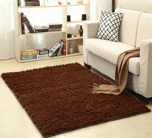 Super Soft Silk Wool Rug Indoor Modern Shag Area Rug brown