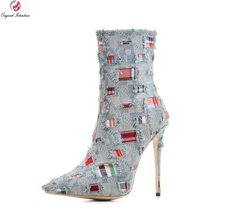 Blitz Pointed Toe Thin Heels Boots Khaki Light Blue Shoes Woman US Size 3-10.5