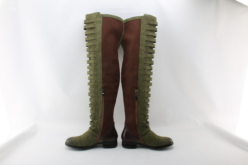 over the knee boots velvet army combat boots - Neshaí Fashion & More