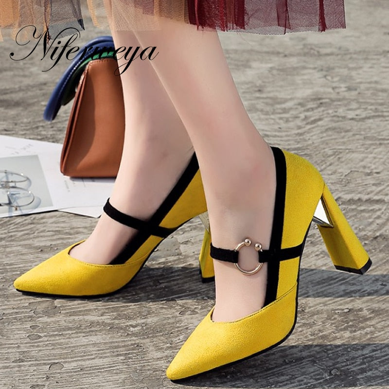 Pointed Toe Metal Decoration women shoes zapatos mujer