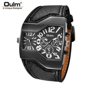 Oulm PU Leather Wristwatch Male Quartz Clock