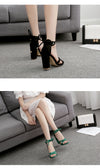 Peep Toe Shoes Female Square Heel Ladies Sandals Green, Black Size 35-40 - Neshaí Fashion & More