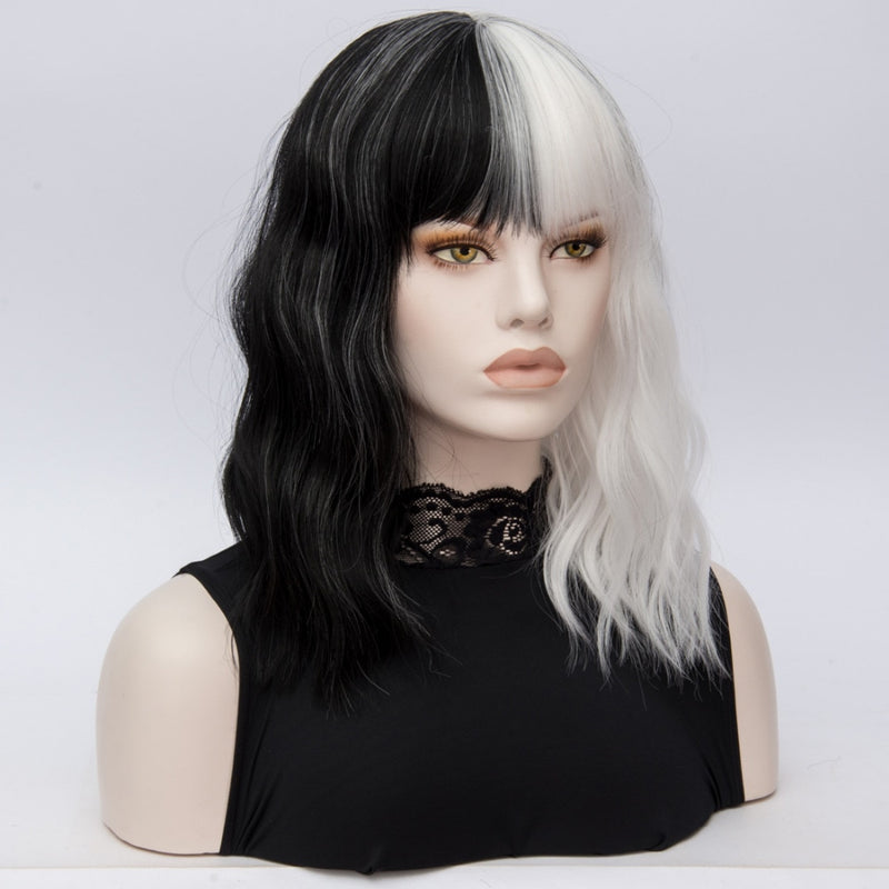 synthetic Wig Black White 2 Tones