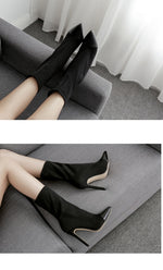 Pointed Toe High Heels Slip-On boots