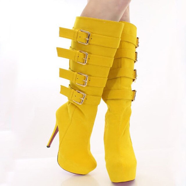 suede, zipper, 14.5 cm high heel boots, knee-high boots. SIZE:34-45