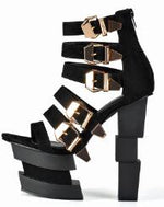 Black Platform Sandals Thick heel