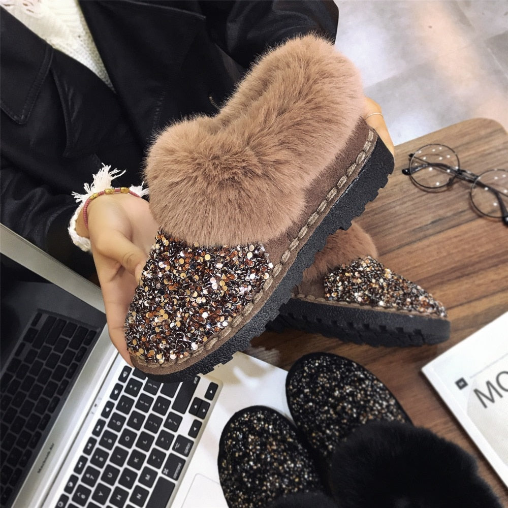 Women Winter Warm Shiny Brand Furry Ankle Boots