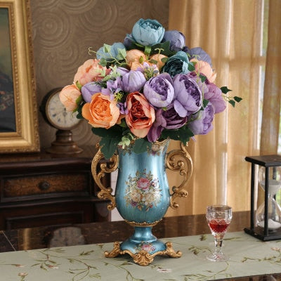 European Luxury  Retro Silk Flower Pot