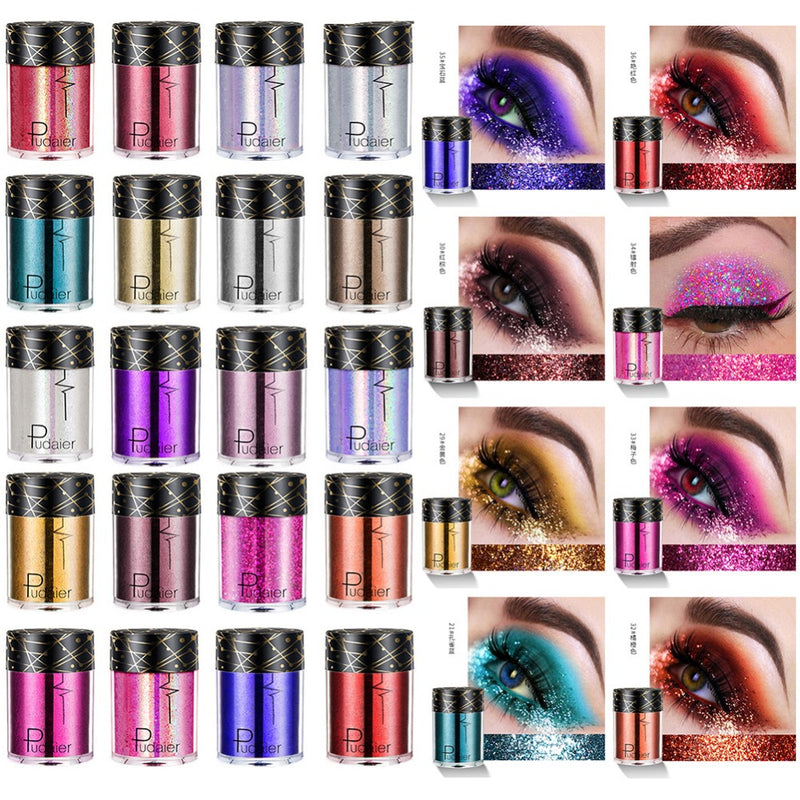 36 colors Glitter Eyeshadow Pigments  Highlighter Shimmer Powder