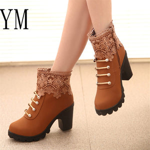 Lace Cuff Thick Heel Women Boots