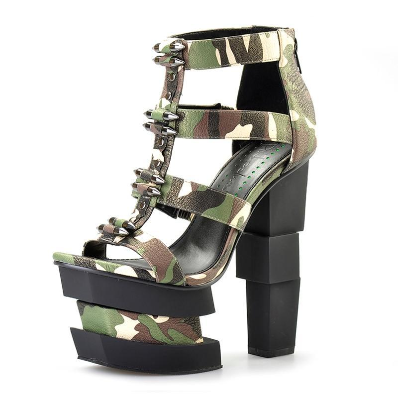 camouflage  punk party sandals
