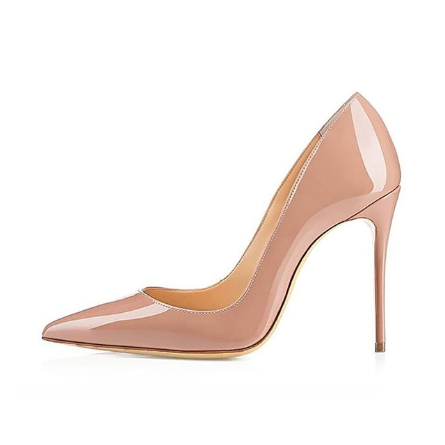 Nude Pointed TmStiletto High Heels 12 10 8 cm Big Size 42