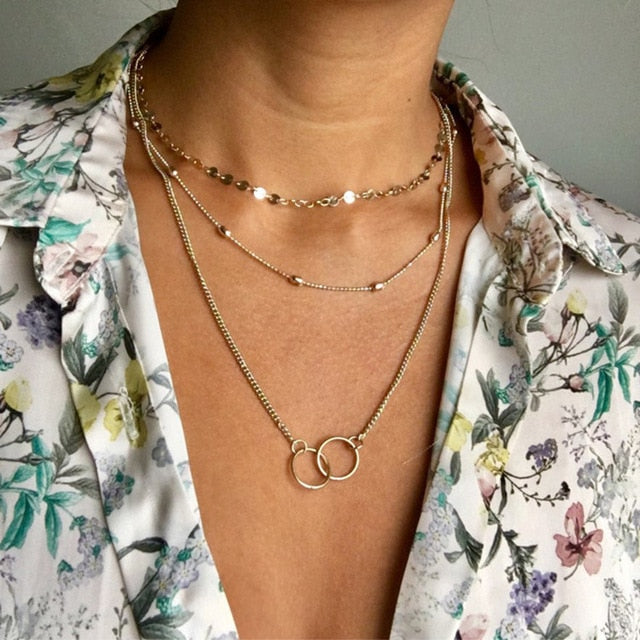 Golden Geometric Charm Chains Necklace Jewelry Wholesale