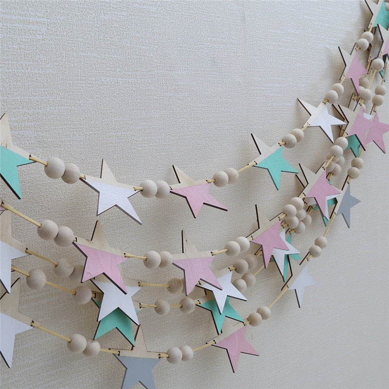 INS Nordic Wooden Star Beads Garland Banners Girls Baby Room Nursery Wall Decor Kids Room Hanging Curtains Pennant Photo Props
