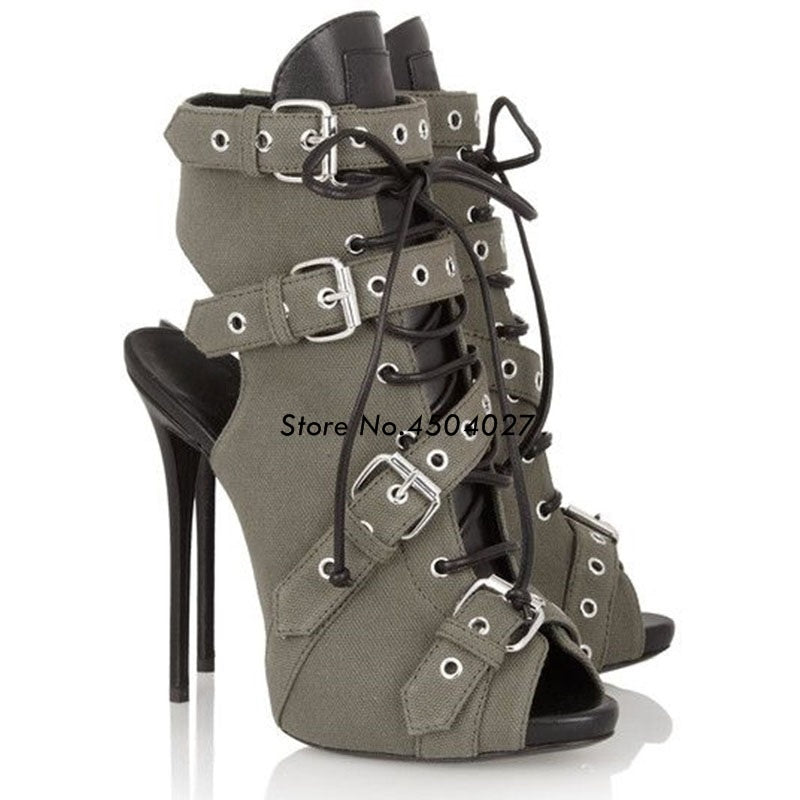 Buckle Strap Lace Up High Heel Short Sandals Boot Stiletto Heel Ladies Shoes