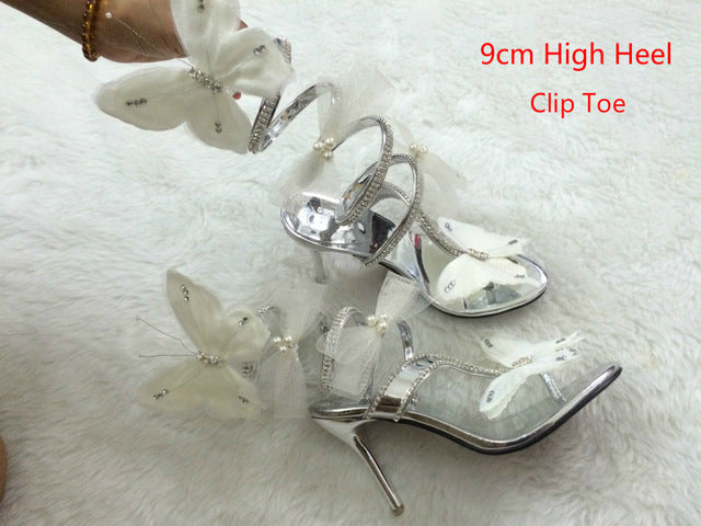 Flat Wedge High Heels Crystal Women Gladiator Butterfly Sandals