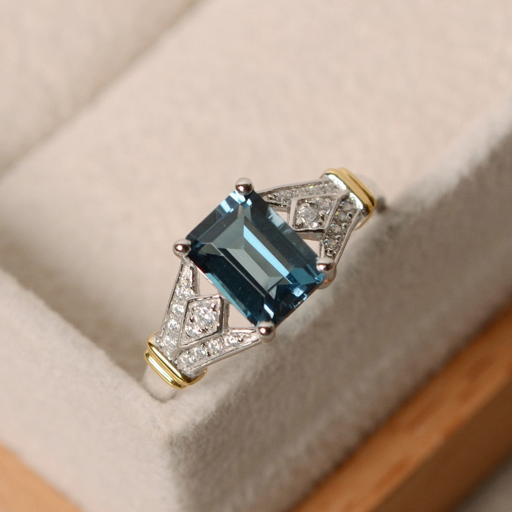 Blue Square Crystal AAA Cubic Zirconia Silver Ring