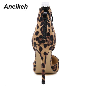 Leopard Suede Leather Pointed Toe Pumps Shoes Shallow Cut Lace Up Covered Heel Stiletto Heel Shoes
