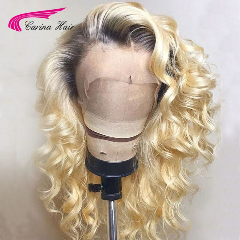 613 Platnium Blonde Ombre Lace Front Wig With Dark Roots Long Ombre Human Hair Wigs With Baby Hair