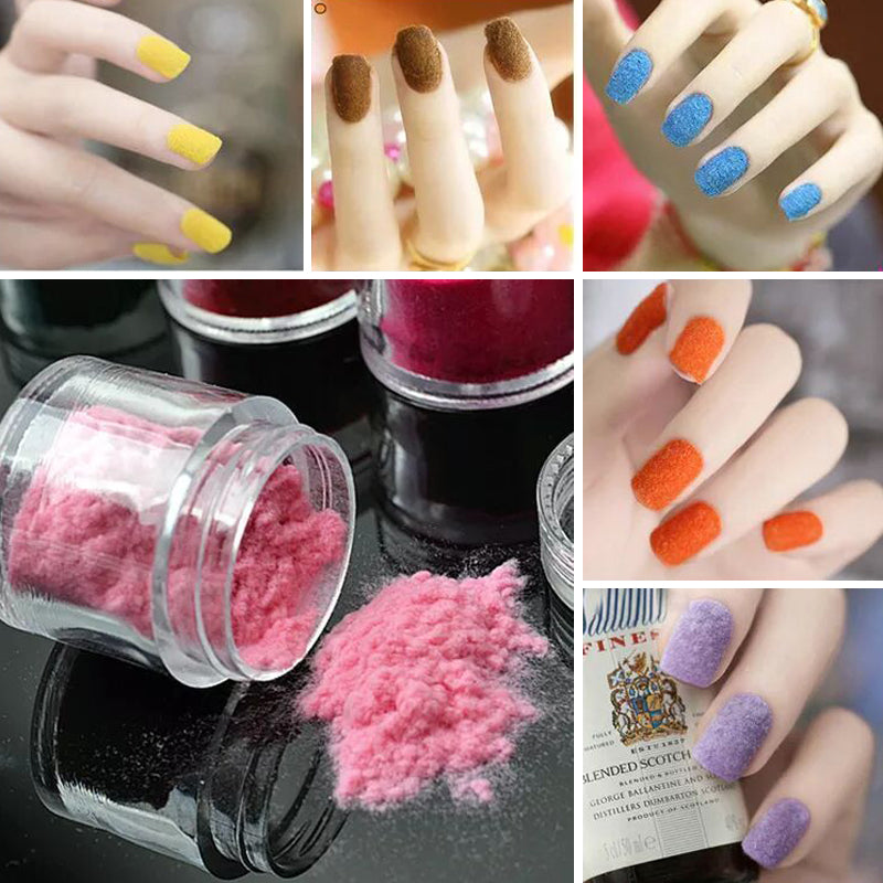 24 Colors 3D Candy Velvet Nail Fuzz Powder velour