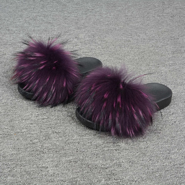 Furry Slides Soft Warm Big Fluffy Fur Shoes