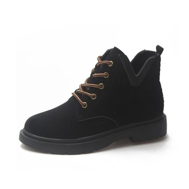 Fashion Casual England Women Shoes Female Classica Black Lace-Up Rubber