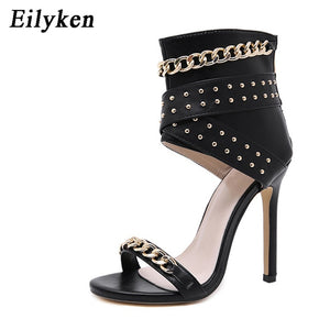 Sandals Cover Heel For Party Gladiator Ladies Shoes Black Size 35-40