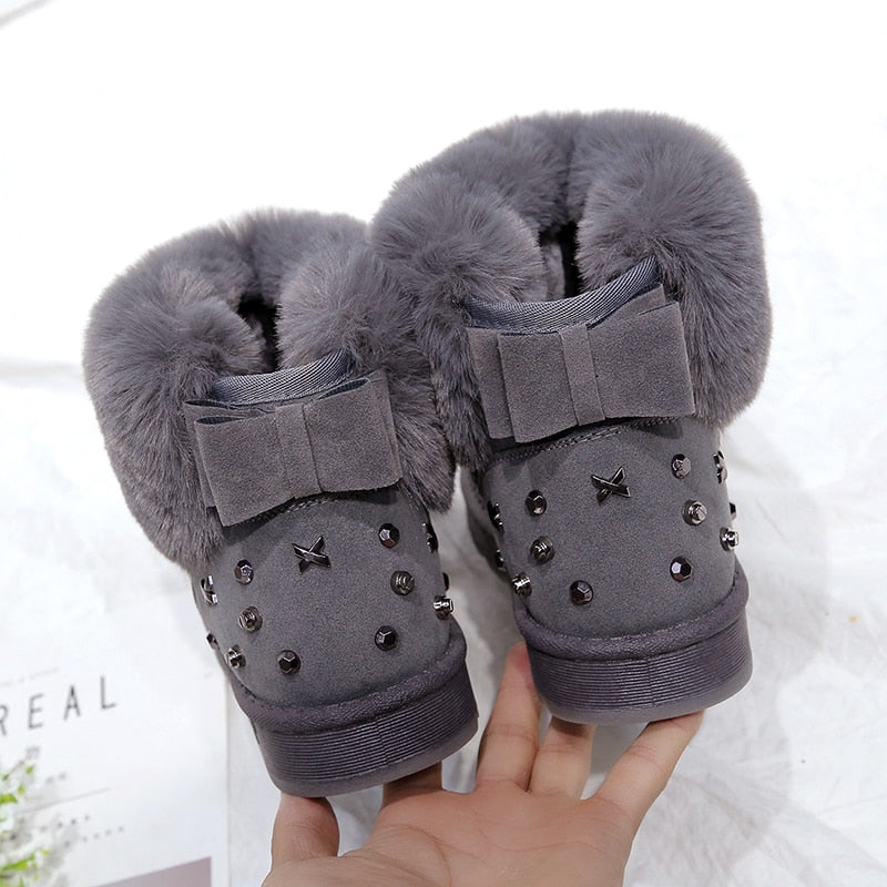 Bowtie Thick Fur Snow Boots