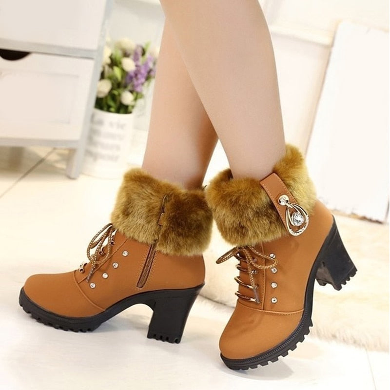 Plush Snow Booties Winter Boot Lace Up Crystal Design Woman Fashion Shoes High Square Heels Botas